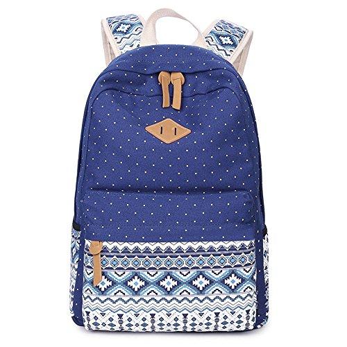 Jonesport Motif aztèque Tribal Vintage Style école Bookbags de voyage Sac à dos pour ordinateur portable Toile Bleu