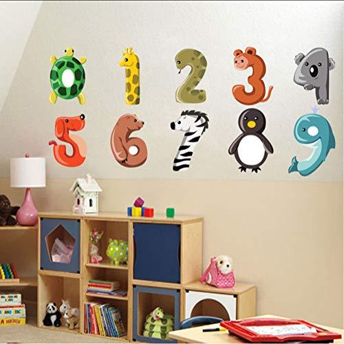 Ljtao Cartoon Anzahl Tiere Hund Giraffe Zebra Wandaufkleber Abnehmbare Pvc Nette Zahlen Aufkleber Für Kinder Schlafzimmer Diy Home Decer108X17Cm