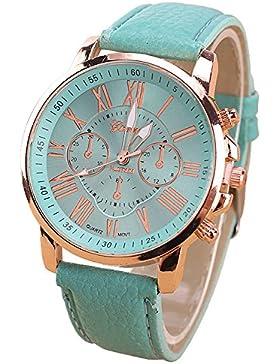 Geneva Kunstleder Armband Armbanduhr (Mintgruen)