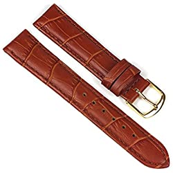 Eulit Guinea Replacement Band Watch Band Leather Kalf Strap Goldbrown 8007_23G, Abutting:12 mm
