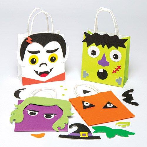 alloween-Motiven für Kinder zum Ausmalen, Verzieren und Füllen mit Süßigkeiten (4 Stück) (Halloween-süßigkeiten Diy)