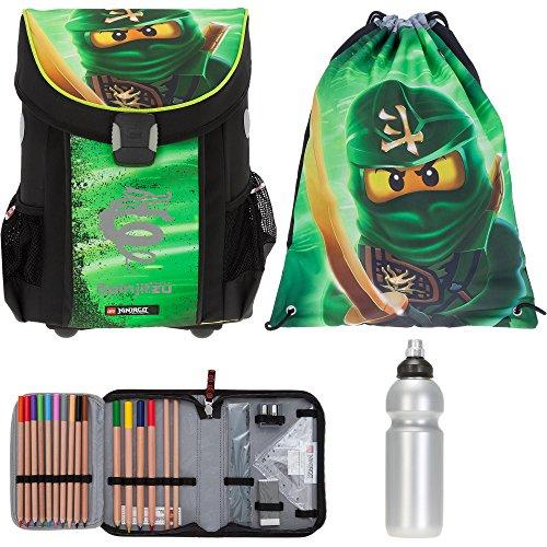 4 T SET LEGO Easy Schulranzen + Sportbeutel + Federmäppchen gefüllt + Trinkflasche (Ninjago Lloyd Garmadon 1807) (Schulranzen 3)
