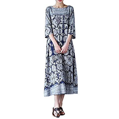 FriendG Womens Oversized Floral Print Crewneck Casual Loose Long Maxi Dress Kaftan (XXL)