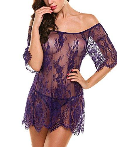 Plus Kostüme Spitze Size (Avidlove Sexy Negligee Spitze Nachtwäsche Blusen Reizwäsche Babydoll Lingerie Dessous Set für Damen Bikini Cover)