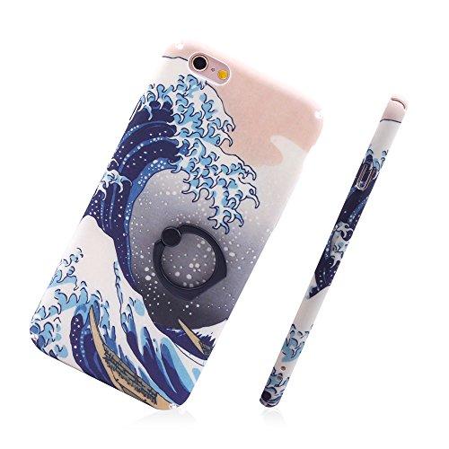 """iProtect Hardcase mit Ring Halter Marmor Design Schutzhülle in Schwarz mit Fingerhalterung für Apple iPhone 6 6s (4,7"""") Wellen Grau"""