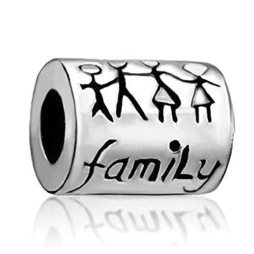 Family, in argento sterling con perle, charm–adatto per braccialetti europei
