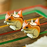 ExclusiveLane Handmade & Hand-Painted Squirrel Tea Light Holder Cum Decorative Candle Holder Set In Wood -Votive Candle Holders Diyas And Lanterns Diwali Decoration