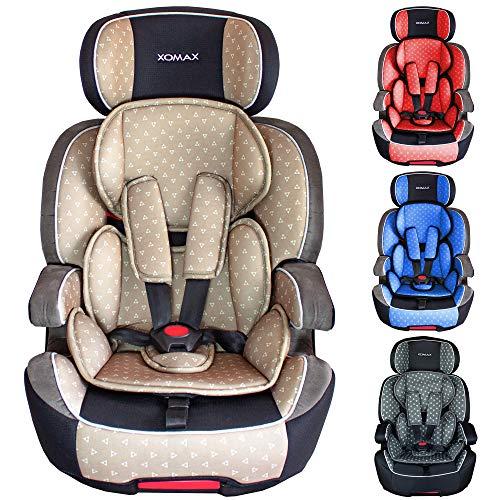 XOMAX XL-518 Kindersitz mit ISOFIX I mitwachsend I 9-36 kg, 1-12 Jahre, Gruppe 1/2/3 I 5-Punkt-Gurt und 3-Punkt-Gurt I Bezug abnehmbar und waschbar I ECE R44/04 I beige/grau/schwarz (5-punkt-gurt Autositz)