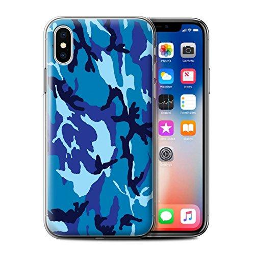 Coque Gel TPU de STUFF4 / Coque pour Apple iPhone X/10 / Bleue 2 Design / Armée/Camouflage Collection Bleue 4