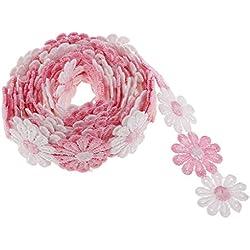 MagiDeal Daisy Blumen Stickband Schleifenband Geschenkband Satinband Dekoband Hochzeit Weihnachten Band - Rosa Weiß, 3 Yard