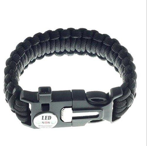 UCTOP STORE Lot de 3 Bracelet Noir d'Extérieur pour Survie avec SOS lumière LED Silex et Emergency sifflet
