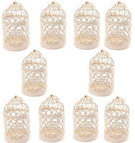 J Robin Metall Kerzenhalter Laternen Kreative Geschnitzte Teelicht Vogelkäfig Eisen Hängenden Kerzenhalter Laterne für Hochzeit Zu Hause Tischdekoration (Packung mit 10 Stück)