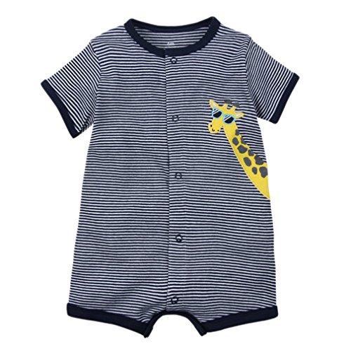 Kauftree Baby Spieler Strampler Playsuit Babyspieler Bodys Sommer Kurzarm Baumwolle Jungen Mädchen (24M, Giraffe)
