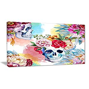 "Designart PT6631-32-16 ""Ethnic Skull with Flowers Floral"" Canvas Art Print, Purple, 32x16"""