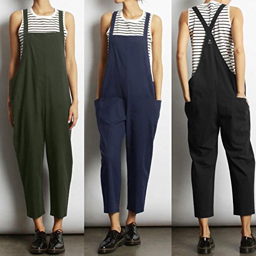 VONDA Women's Strappy Jumpsuits Overalls Casual Harem Wide Leg Dungarees Rompers