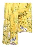 Prettystern - 180cm langer chinesische Malerei Pinsel Freihand Zeichnung kunstdruck Seidenschal - Vögel Bambus Blumen Golden Z03