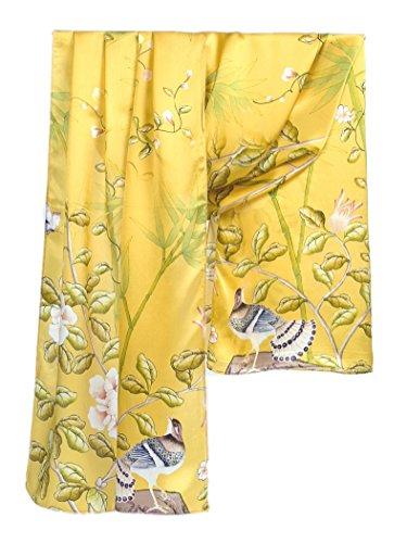 Prettystern 180cm langer chinesische Malerei Pinsel Freihand Zeichnung kunstdruck Seidenschal - Vögel Bambus Blumen Golden - Vögel Zeichnung
