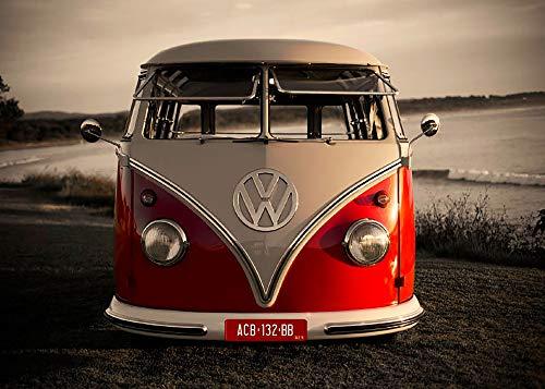 Volkswagen VW Fußmatte Motiv RED CAMPERVAN 50 cm x 70 cm VW Bus Camper Schmutzfangmatte mit rutschfester PVC Unterlage Fußabtreter Sauberlaufmatte Fußabstreifer für Außen und Innen pflegeleicht