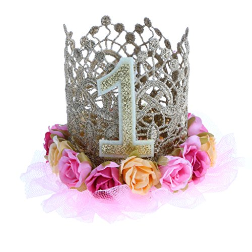 MagiDeal Princess Birthday Crown Headband Cake Smash Baby Girls Hairband Rose Flower Hat - #1, as described  available at amazon for Rs.1190