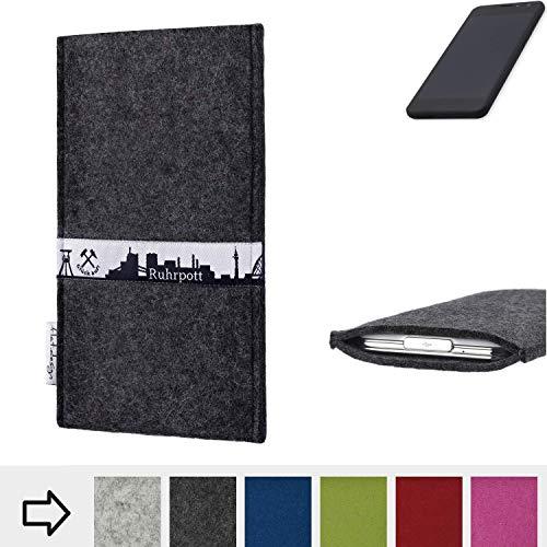 flat.design für Shift Shift5.3 Schutzhülle Handy Tasche Skyline mit Webband Ruhrpott - Maßanfertigung der Schutztasche Handy Hülle aus 100% Wollfilz (anthrazit) für Shift Shift5.3