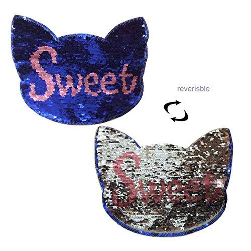 279c0bb56 Cat reversibile cambia colore cucire paillettes patch per vestiti borsa  t-shirt ricamo reversibile Sequin Sweet Cat patch