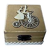 TOPBATHY Caja de Madera de Anillos de Novios Cajas de Madera para Decorar para Fiesta Ceremonia de Boda Vintage Caja de Joyería con Patron de Pareja Ciclismo