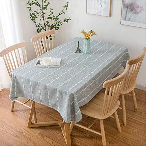 s Baumwollleinen für die Küche Rechteckige Esstischabdeckung gestreiftes Tischtuch für Hochzeitsfeiern A 135x220cm ()