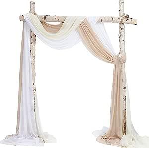 Sherway 3 Paneele Chiffonstoff Vorhang Hochzeit Bogen Drapes Party Hintergrund Vorhang Amazon De