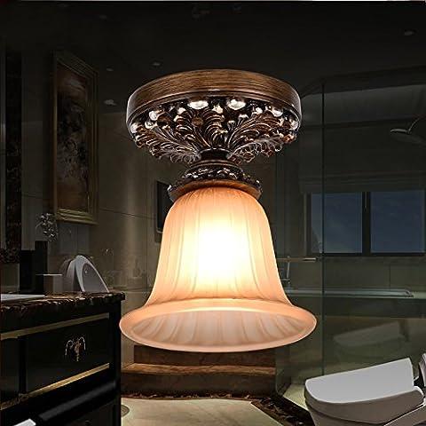 UZI-Estilo europeo, vintage, pasillo, baño, armario, lujo, resina, lámparas de techo, balcón, sola cabeza, (18 * 22,3 cm)