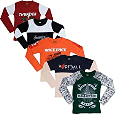 Fashion Biz Boys Full Sleeve T-Shirts Multi Printed Wonderful Awesome Collection New & Different Styles (Pack Of 5)
