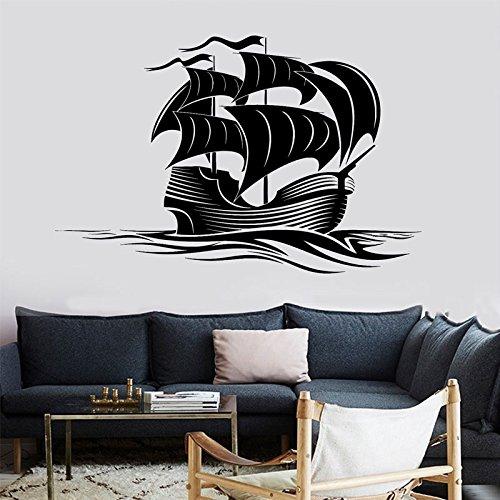 Tattoo Nautical Stars (Wandaufkleber,Vintage Nautical Home Decoration Wandtattoos Segelboot Ozean Meer Wellen Vinyl Aufkleber Für Wohnzimmer Abnehmbare Kunst 88X57 Cm)