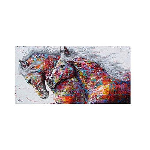 pu ran-- Moderne sans Cadre Coloré Chevaux Impression sur Toile Décoration Murale Art Peinture, comme sur l'image, 50 x 70 cm
