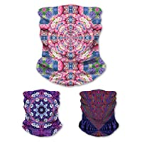 3 Pack Face Mask Bandanna- Tube Neck Scarf- Sonic Blossom, Groovy Tunnel, Flourish Designs- Trippy Psychedelic Dust Mask- Colorful Headband- Breathable In Warm or Cold Weather