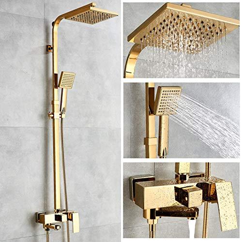 Badewanne Armaturen Luxus Gold Messing Bad Wasserhahn Mischbatterie Wand Montiert Hand Dusche Kopf Kit Dusche Wasserhahn Sets (Dusche Kopf Wasserhahn Set)