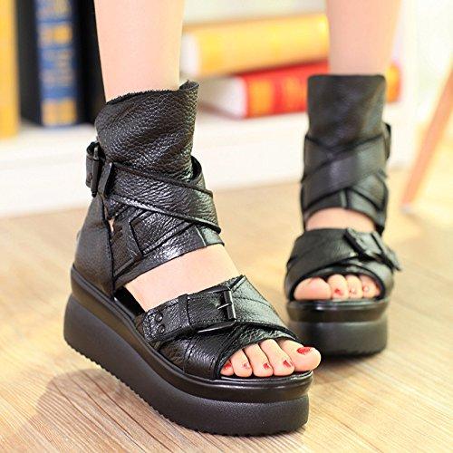 khskx-thick del fondo muffin sandali donne in Roma con Hollow scarpe nero, Thirty-six Thirty-six