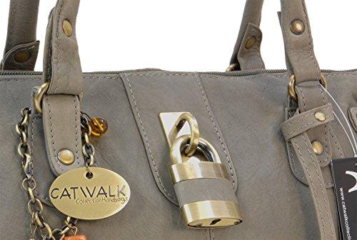 Lederhandtasche Chancery von Catwalk Collection - Größe: B: 34,25 H: 16 T: 9 cm Grau