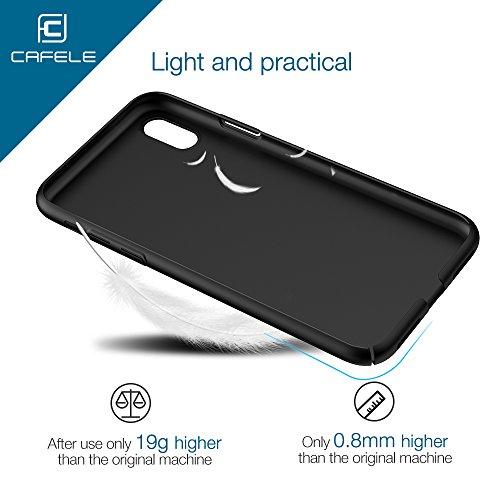 Coque iPhone X, CAFELE PC Matière avec Anti-dérapante Case Ultra Mince Coque Housse Ultra Léger Bumper Anti-Rayures Cover pour iPhone X,5.8' pouces (Noir) Noir