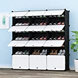 PREMAG Portable Organizador de almacenamiento de calzado Torre, Estantería de gabinete modular para ahorro de espacio, Estante de zapatero Estantes para zapatos, botas, Zapatillas(3x 6 niveles)