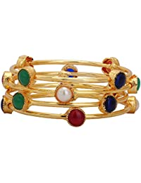 Shreyadzines Gold Plated Faux Pearl Colored Stone Bangle Set For Women And Girls (Size : 2.6)