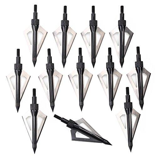 RunFa 12 x Pfeilspitzen Jagdspitzen Armbrust Bogen Alu mit 3 Klingen aus 430 Edelstahl