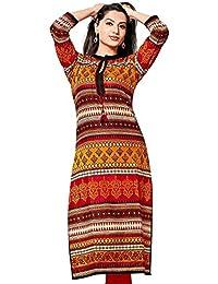 Ashwati Women's Cotton Kurti Beautiful Embroidered Exclusive Collection Of Designer Wear Latest Casual Long Kurta...