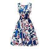 Lauzal 50s Retro Vintage Rockabilly Kleid Cocktailkleid Knielang Blumenprint Partykleid mit Gürtel Gr:-XL, Farbe:-Blau-ablumen