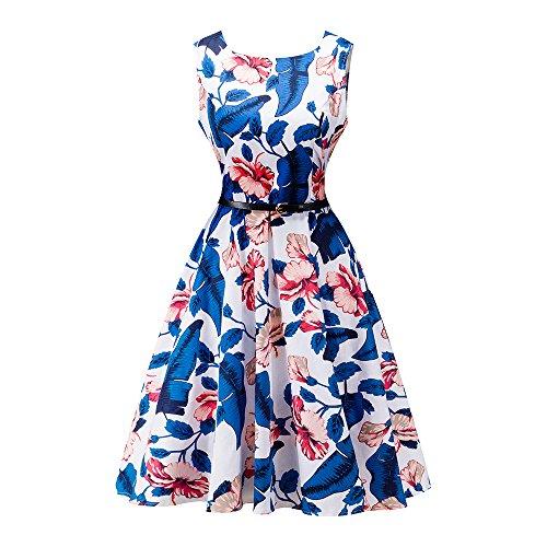 Lauzal 50s Retro Vintage Rockabilly Kleid Cocktailkleid Knielang Blumenprint Partykleid mit Gürtel Gr:-L, Farbe:-Blau-ablumen