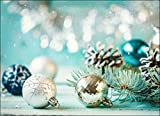 Tischsets I Platzsets - Weihnachtliches Motiv mit Christbaumkugeln in türkis und Silber - 12 Stück in Hochwertiger Aufbewahrungsmappe
