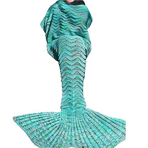 Sirène Queue de Couvertures, Toutes Les Saisons Couverture Tricotée Sac de Couchage Adulte(180*90cm) (Vert-N)
