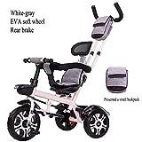 TH Kinder Dreirad Kinderfahrrad Dreirad Handwagen Tretautos, 3-in-1-Fahrrad, 75x55x90cm, 1-6 Jahre Alt,A4