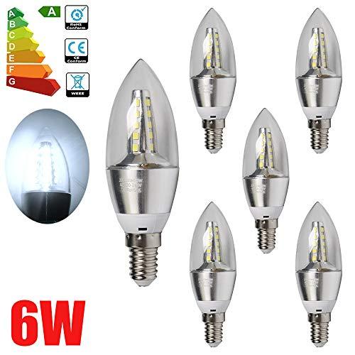 ALBRIGHT 6er-Pack 6WLED Kerze Lampe licht, 6500K Kaltweiß 430 Lumen, Ersatz für 60W Glühlampen, E14 Fassung, nicht Dimmbar -