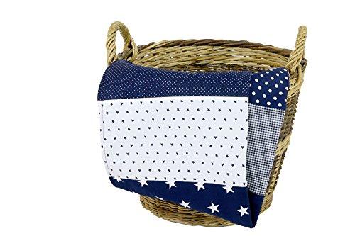 ULLENBOOM ® Babydecke Blaue Sterne (70x100 cm Baby Kuscheldecke, ideal als Kinderwagendecke, Spieldecke geeignet, Motiv: Punkte, Sterne, Patchwork) -