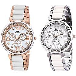IIK Round Dial Quartz Analog Ceramic Strap Women`s Wrist Watch Combo Gift