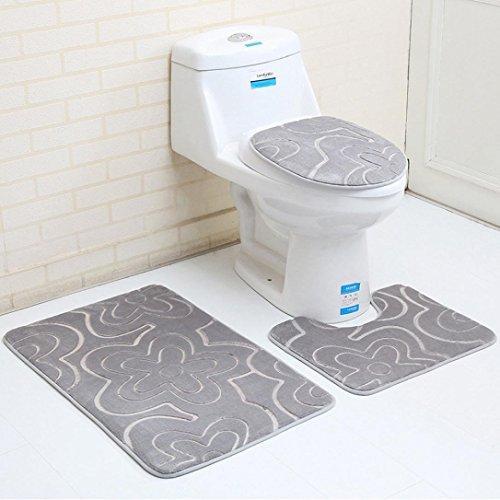 JIANGFU 3D-Toilettenmatten dreiteiliges Blumenmuster, 3 STÜCK Badezimmer Set Teppich Contour Mat Wc Deckel Plan Unifarben Badematten (A) Teppiche Mat